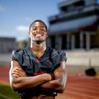 Del City's Donovan Stephens poses for a photo at Del City High School, Thursday, June 25, 2020. [Bryan Terry/The Oklahoman]