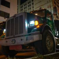 150 cement trucks decended on downtown Oklahoma CIty overnight to pur the foundation for a ramp to a new parking garage for First National Center....