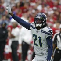 Tre Flowers has three interceptions this season for Seattle after not recording one during his first season with the team. [AP Photo/Rick Scuteri]