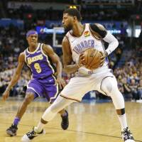 Oklahoma City Thunder forward Paul George has a chance to be just the second player in NBA history to win Most Valuable Player and Defensive...