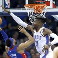 Thunder center Nerlens Noel (3) has until Saturday to decline his bargain $1.98 million player option for the 2019-20 season. [Sarah Phipps/The...