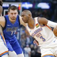 Chris Paul (3) has the Thunder in sixth place in the Western Conference, one spot ahead of Luka Doncic (77) and the Mavericks. [Bryan Terry/The...