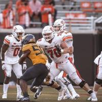 Oklahoma State offensive lineman Hunter Woodard (70) will make his third career start against Iowa State on Saturday. [BRUCE WATERFIELD/COURTESY...
