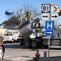 Trucks navigate a busy intersection along State Highway 33 in Kingfisher earlier this year. [JACK MONEY/THE OKLAHOMAN ARCHIVES]