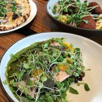 Hamachi crudo, center, falafel, right, and truffled mushroom pizza from The Jones Assembly in downtown Oklahoma City. [Dave Cathey/The Oklahoman]