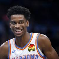 "Thunder guard Shai Gilgeous-Alexander showed that he is ""a competitor"" early on working with trainer Olin Simplis. [Bryan Terry/The Oklahoman]"