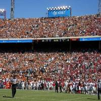 OU and Texas fans watch the Red River Showdown last October at Cotton Bowl Stadium in Dallas. The Sooners won 34-27. [Bryan Terry/The Oklahoman]