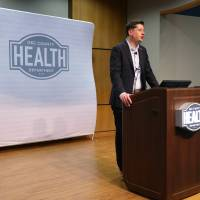 Oklahoma City Mayor David Holt declares a state of emergency for Oklahoma City after a new case of COVID-19 in the metro area during a press...