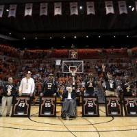 The 1995 Oklahoma State Final Four basketball team is honored at halftime during an NCAA college basketball game between Oklahoma State and Texas...