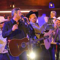 "Blake Shelton, left, and Garth Brooks perform ""Dive Bar"" at the 53rd annual CMA Awards at Bridgestone Arena, Wednesday, Nov. 13, 2019, in..."
