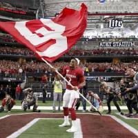 Oklahoma's Jalen Hurts (1) celebrates after the Big 12 Championship Game between the University of Oklahoma Sooners (OU) and the Baylor University...