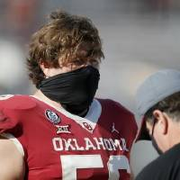 OU center Creed Humphrey's Pro Football Focus grade of 80.2 for the 2020 season was the best of his career. [Bryan Terry/The Oklahoman]