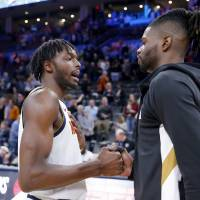 Oklahoma City's Nerlens Noel (9) greets Jerami Grant (9) following the NBA basketball game between the Oklahoma City Thunder and the Denver Nuggets...