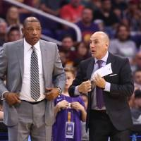 Los Angeles Clippers head coach Doc Rivers (left) and assistant coach Rex Kalamian watch the action against the Phoenix Suns. Kalamian might be a...