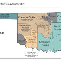 This map, from the Oklahoma Historical Society, shows the reservation boundaries of the Five Tribes: the Cherokees, Chickasaws, Choctaws, Creeks...