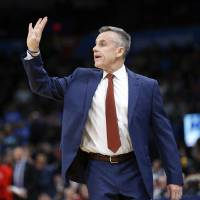 Thunder coach Billy Donovan gives a signal during a game against the Bulls at Chesapeake Energy Arena in Oklahoma City on Dec. 16, 2019. [Nate...