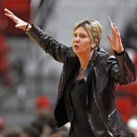 FILE- In this Feb. 18, 2020, file photo, Texas Tech coach Marlene Stollings reacts to a play during the second half of an NCAA college basketball...