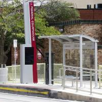 The Federal Courthouse stop for the Oklahoma City Streetcar is shown in downtown Oklahoma City. A new bus rapid transit line will use similar...