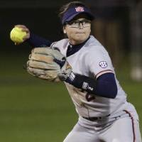 Taylon Snow of Auburn passes the ball while playing against Western Kentucky during an NCAA softball game on Friday, Feb. 8, 2019 in Gulf Shores,...