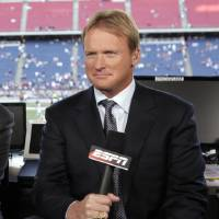 FILE - In this Sept. 14, 2009, file photo, ESPN broadcaster Jon Gruden is shown before an NFL football game between the New England Patriots and the Buffalo Bills in Foxborough, Mass. Gruden has agreed to a new contract with ESPN that would keep him in TV _ and out of coaching _ for the next five years.  (AP Photo/Steven Senne, File)