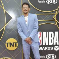 NBA player Trae Young, of the Atlanta Hawks, arrives at the NBA Awards on Monday, June 24, 2019, at the Barker Hangar in Santa Monica, Calif....