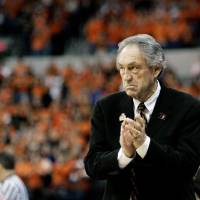 Oklahoma State's Eddie Sutton coaches an NCAA Tournament game in 2005. Sutton was elected into the Naismith Memorial Basketball Hall of Fame on...