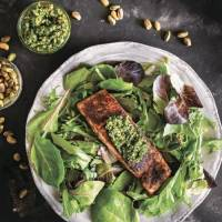 """This blackened salmon from """"30-Minute Low-Carb Dinners"""" has a pistachio pesto on top. [Contributed by Valerie Azinge]"""