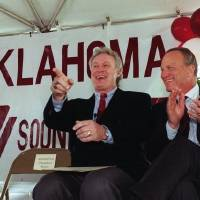 Steve Owens, left, and Barry Switzer share a laugh during ground-breaking ceremonies for the Barry Switzer Center at OU in 1997. [OKLAHOMAN...