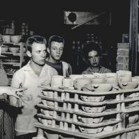 Joniece Frank explains the process of creating Frankoma Pottery in her parents' factory in August 1956. This photo was published with a story...