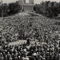 Presidential candidate Adlai Stevenson addresses a crowd of thousands in front of the Civic Center in October 1952. Looking toward the November...
