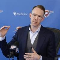 Oklahoma City Thunder general manager Sam Presti met with media early Friday  morning to discuss first-round draft  pick Darius Bazley and the...