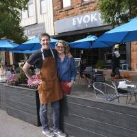 Robert and Lori Black, owners of Cafe Evoke. Streateries in downtown Edmond. Restaurants/cafes were allowed  to take over street space to expand...