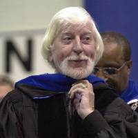 "In a May 21, 2000 file photo, Caroll Spinney, center, best known for his TV character ""Big Bird"" from Sesame Street, receives an honorary doctor..."