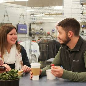Melton Truck Lines employees Katy Walden and Bradley Bournes lunch at the company\'s on-site...