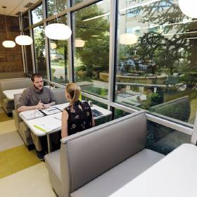 The Paycom campus in has a large employee dining area. [Photo by Paul Hellstern, The...