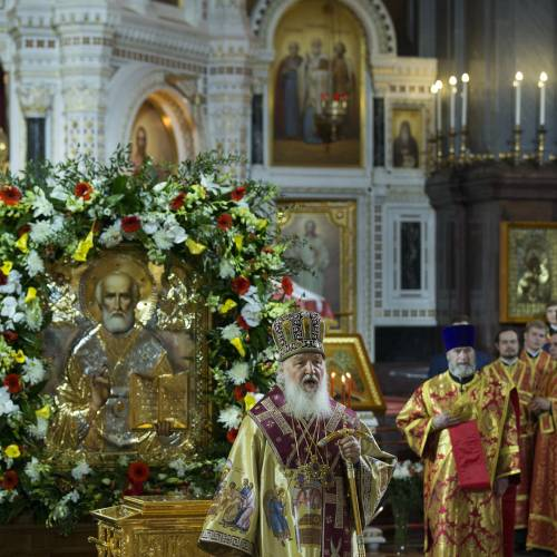 Russian Orthodox believers gather after receiving St. Nicholas relics from Italy