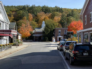 The shops of Peterborough, New Hampshire, are built among the glorious trees.