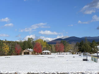 Snow blankets the city park of Franconia, New Hampshire. (Photo by Tricia Tramel)