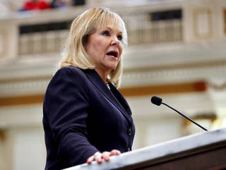Oklahoma Governor Mary Fallin gives her final State of the State Address in the House Chambers of the Oklahoma House of Representative on Feb. 5, 2018 in Oklahoma City. [Photo by Steve Sisney, The Oklahoman]