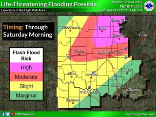 Areas of Oklahoma could see life-threatening flood conditions, according to the National Weather Service.