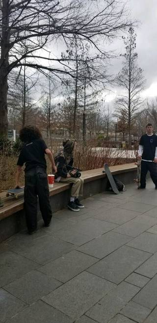 Oklahoma City police are searching for several skateboarders accused of causing nearly $2,000 in damage to a fountain at the Myriad Botanical Gardens in late January. [Photo provided]