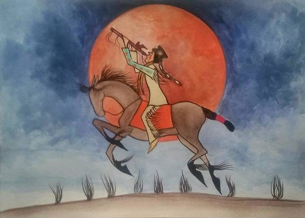 """Song of the Blood Moon"" is a watercolor painting by Timothy Tate Nevaquaya, a painter and flutist of Comanche, Choctaw and Chickasaw heritage. The Tulsa-based artist will perform Saturday with the Oklahoma City Philharmonic. [Photo provided]"