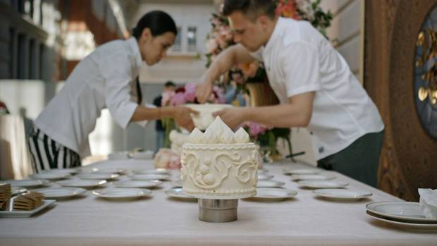 "Pastry chefs work on a high-end event in the documentary ""Ottolenghi and the Cakes of Versailles."" [A24 photo]"