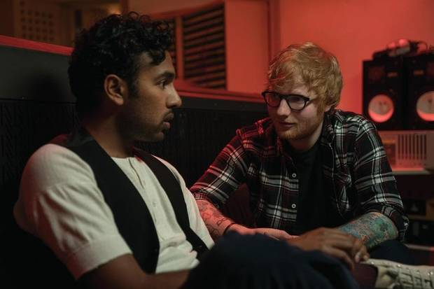 "Jack Malik (Himesh Patel) gets a major career boost from Ed Sheeran (playing himself) after Jack begins performing songs by The Beatles in ""Yesterday,"" directed by Danny Boyle. [Universal Pictures photo]"