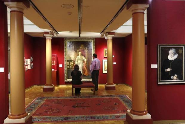 Father Gregory Gerrer's 1904 portrait of Pope Pius X is among the artwork from around the world exhibited at the Mabee-Gerrer Museum of Art Friday, Aug. 9, 2019, in Shawnee. Founded by Gerrer, the museum is celebrating its 100th anniversary in 2019. [Jim Beckel/The Oklahoman]