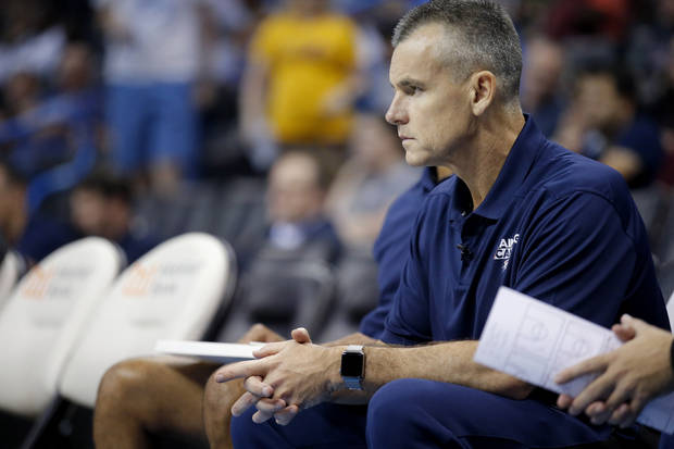 Oklahoma head coach Billy Donovan watch game action during the Thunder Blue and White Scrimmage at the Chesapeake Energy Arena , Sunday, Sept. 30, 2018. Photo by Sarah Phipps, The Oklahoman