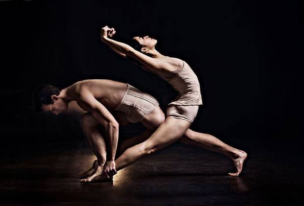 "Oklahoma City Ballet Principal Dancers Miki Kawamura and Alvin Tovstogray appear in a publicity image for ""Petite Mort."" [Photo provided by Shevaun Williams and Associates Commercial Photography]"