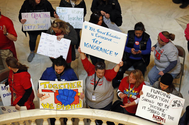 Oklahoma teachers fill the the State Capitol to capacity on Tuesday, April 3, 2018 in Oklahoma City, Okla. Photo by Steve Sisney, The Oklahoman