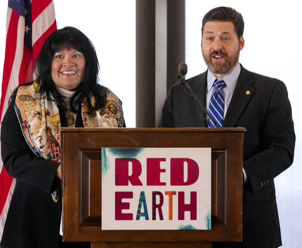 Red Earth board members Barby Myers and Shane Jett speak during a Red Earth press conference at the Petroleum Club in Oklahoma City, Okla. on Monday, Feb. 17, 2020. The news conference announced a new location for the annual Red Earth Festival, a new fall event to mark Oklahoma City's Indigenous Peoples Day and the launch of arts events around the state. [Chris Landsberger/The Oklahoman]