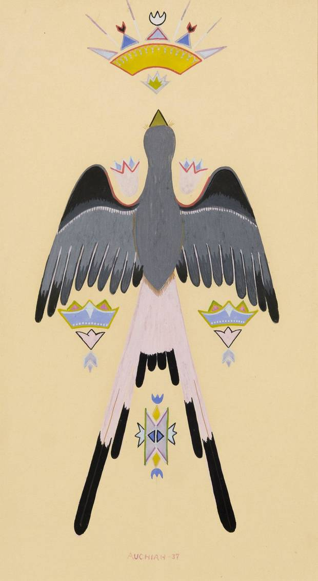 "James Auchiah's (U.S., Kiowa, 1906-1974) ""Peyote Bird"" is included in the exhibition ""Kiowa Agency: Stories of the Six,"" on view at the Fred Jones Jr. Museum of Art at the University of Oklahoma. [Image provided]"